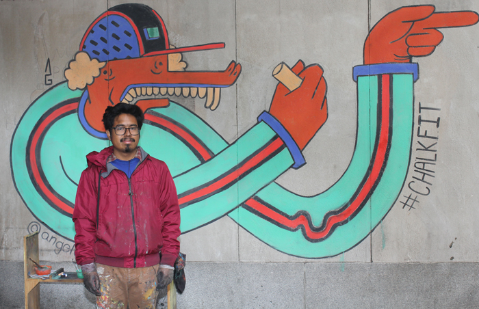 Chalk artist and muralist Angel Garcia ('13)