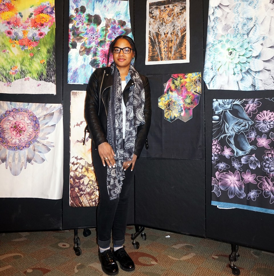 Stacey Lebron to the left of her digital fabric print