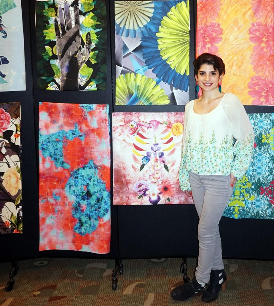 Victoria Ida along side her (blue and green) digital fabric print