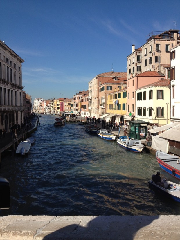 A gorgeous view from one of the many bridges in Venice.