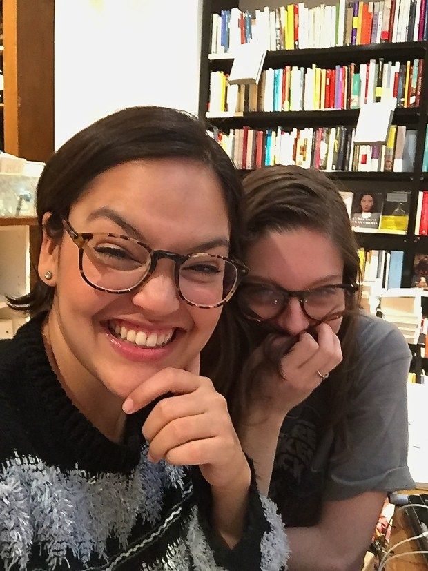Ana and I working hard (or hardly working?) at Todo Modo.