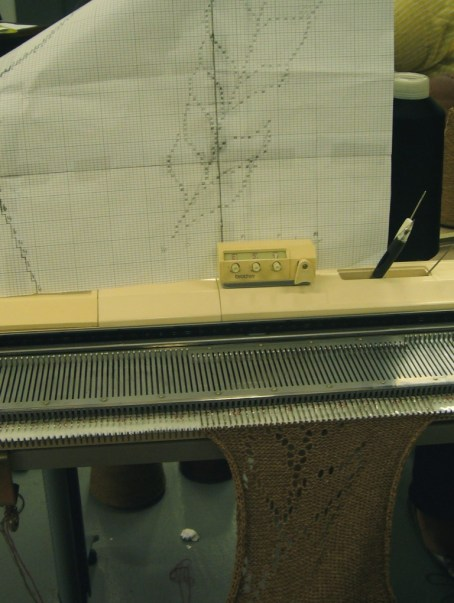 crazy pointelle graph - knitting a sample of it on the Brother machine.  every pointelle hole has been hand transferred!