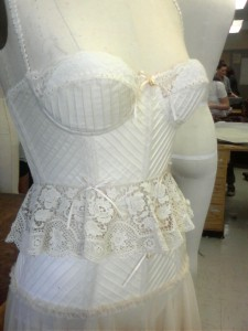 Bodice side view with antique lace