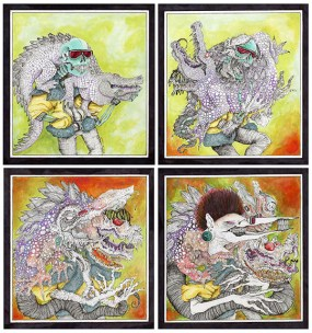 """The title of my piece is called """"The Melting Point,"""" and this piece is an interpretation of transformation. In the first panel, you can see two creatures in their original forms. In the next two panels, they start mutating or transforming with the result being on the last panel. The physical form of the alligator changes into a different creature, but some of its original features are still on the outside. The skeletons outside appearance changes completely, but his original form is underneath his new one."""