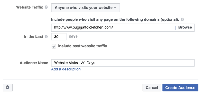 remarketing audience targeting facebook ad