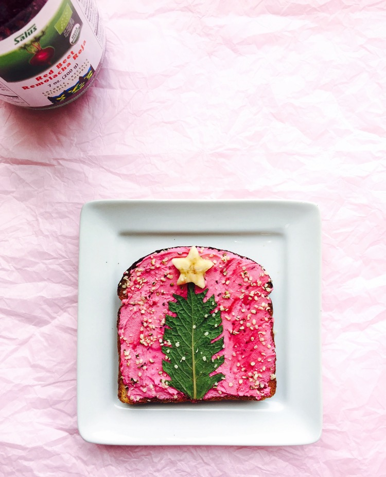 Christmas Tree Mint Toast by Adeline Waugh Using Flora Beet Crystals