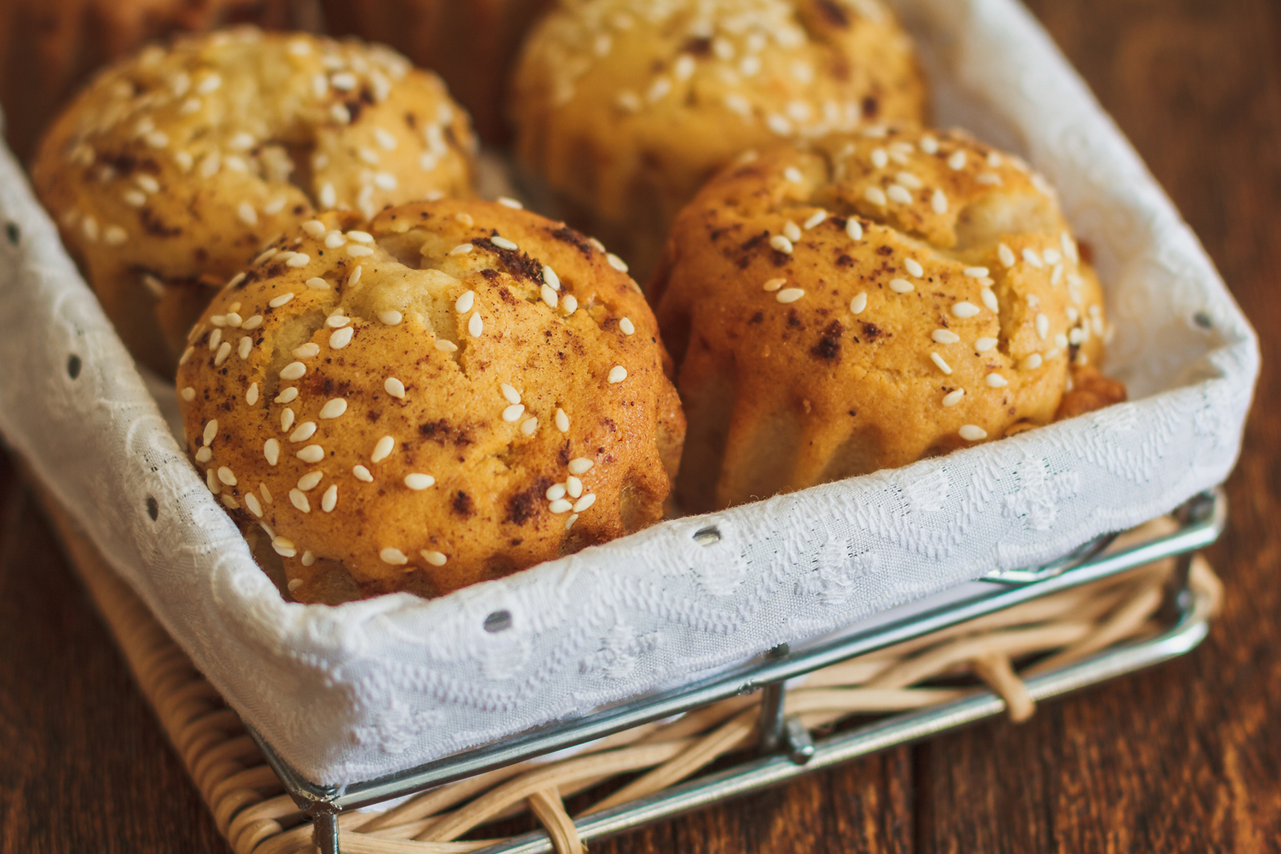 Apple Sesame Spice Muffins with Sesame Oat Streusel Topping