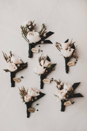 Flora Nova Design Seattle - Luxurious Winter Wedding at the Edgewater Hotel. White and Grey Boutonieres