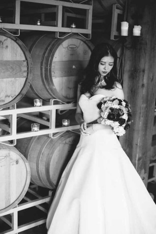Flora Nova Design Seattle -Romantic DeLille Cellars Wedding. Winery Wedding with Burgundy and Cream Bridal Bouquet