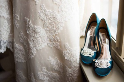 Flora Nova Design Seattle - Colorful Indian Wedding at the Edgewater Hotel. Turquoise shoes.