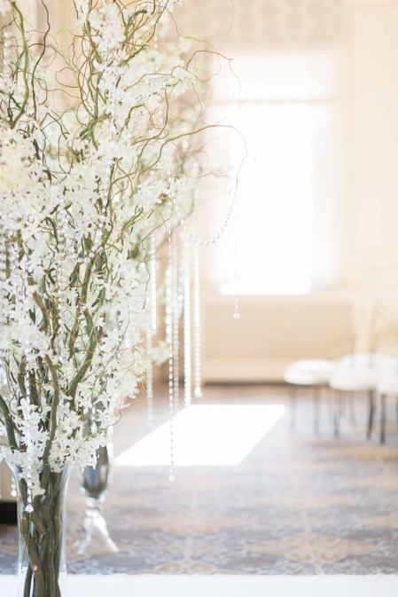 Flora Nova Design Seattle - Orchid Wedding at the Rainier Club. Ceremony trees with hanging crystals