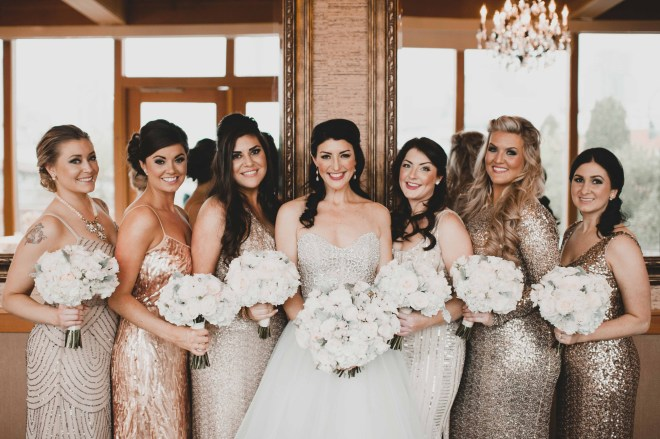 Flora Nova Design Seattle - Luxurious Winter Wedding at the Edgewater Hotel. White and Grey Bouquet, bridesmaids