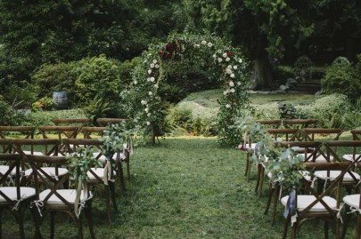 Flora Nova Design Seattle -Romantic DeLille Cellars Wedding. Outdoor Vineyard Ceremony with Floral Arch