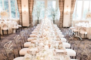 Flora Nova Design Seattle - Orchid Wedding at the Rainier Club. Wedding Reception with long mirrored tables