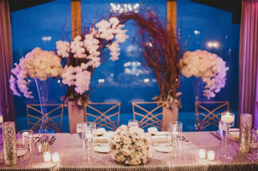 Flora Nova Design Seattle - Luxurious Winter Wedding at the Edgewater Hotel. White and Grey Head Table Arch with Phalaenopsis Orchids