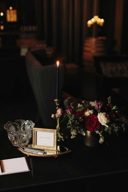Flora Nova Design Seattle Luxe JM Cellars Wedding. Taper Candles, Moody Bouquet, Burgundy, Red, Black, Orchid, Garden Rose, Gothic