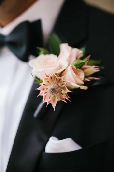 Flora Nova Design Seattle groom boutonniere with blushing bride and spray roses