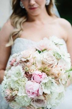 Flora Nova Design Seattle Blush bridal Bouquet with blushing bride, garden roses, and scabiosa