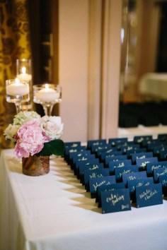 Flora Nova Design Seattle - Escort card table classic blush wedding at Arctic Club with peonies