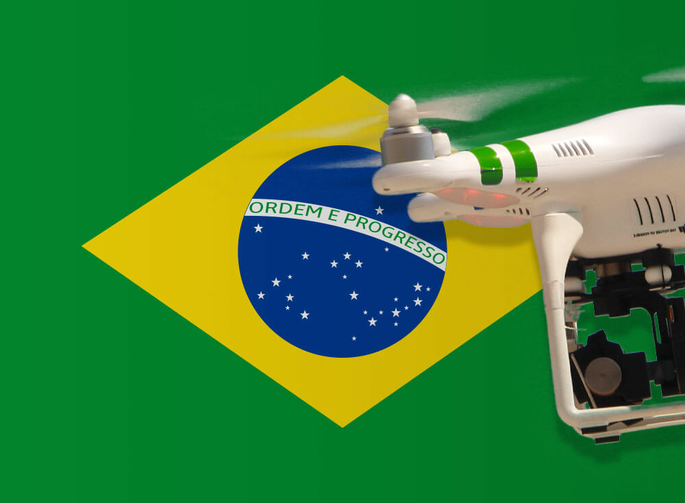 Drone flying over brazil flag