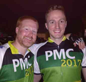 Dave and Taylor at the start of Pan-Mass Challenge 2017.