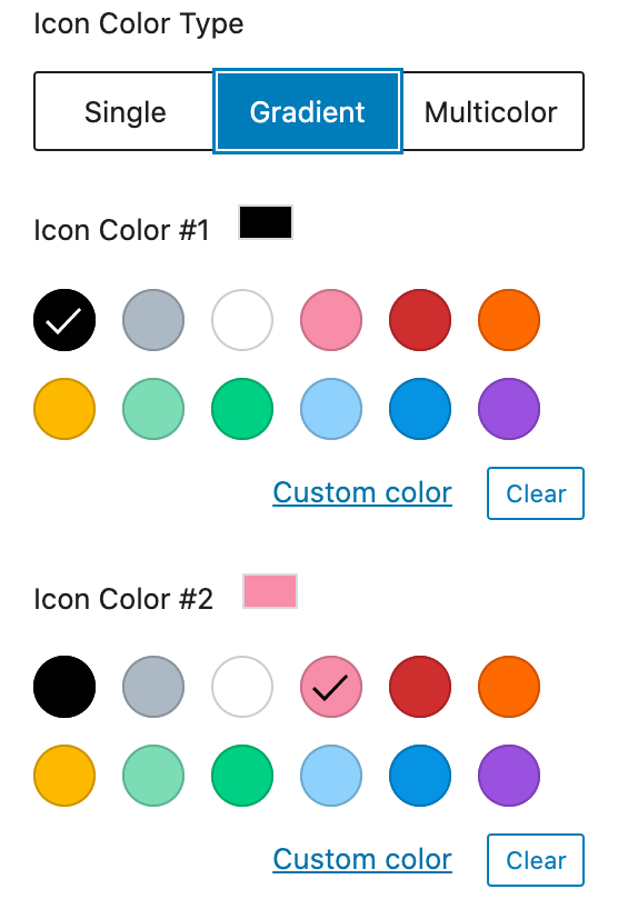 Screenshot of editor choosing gradient and color options.