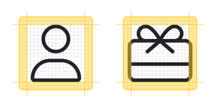 A user icon and a gift icon with guidelines and padding.