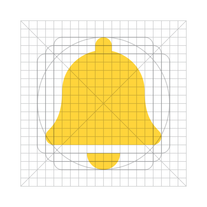 A bell icon overlaid on the Font Awesome icon grid.