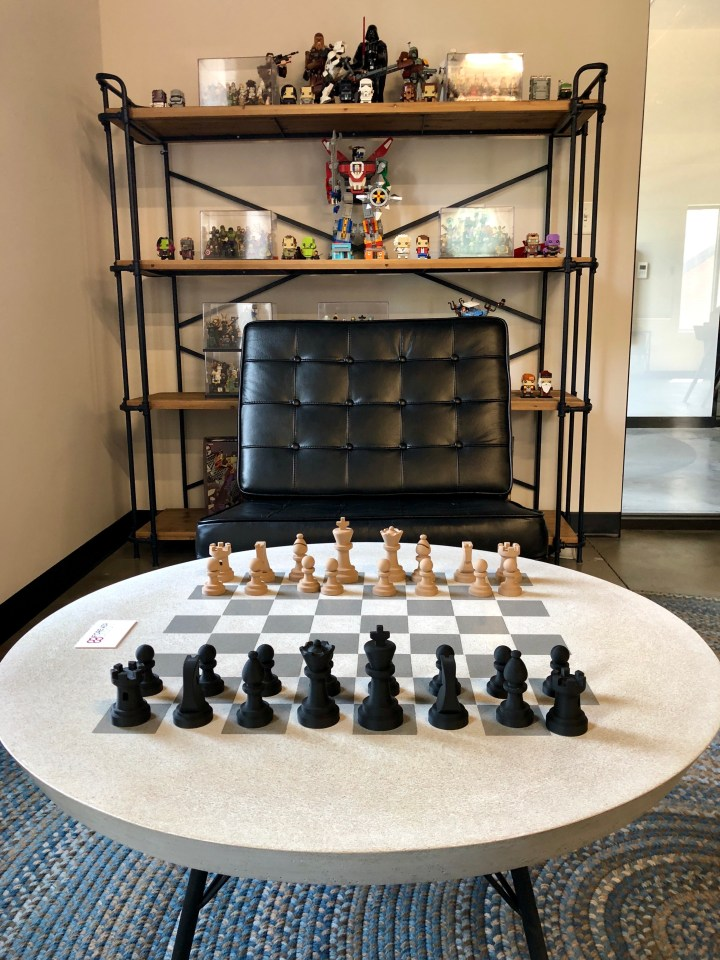 Image of chess board and chair.