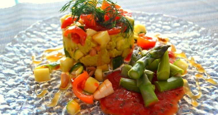 Gemüse-Tartar mit grünem Spargel