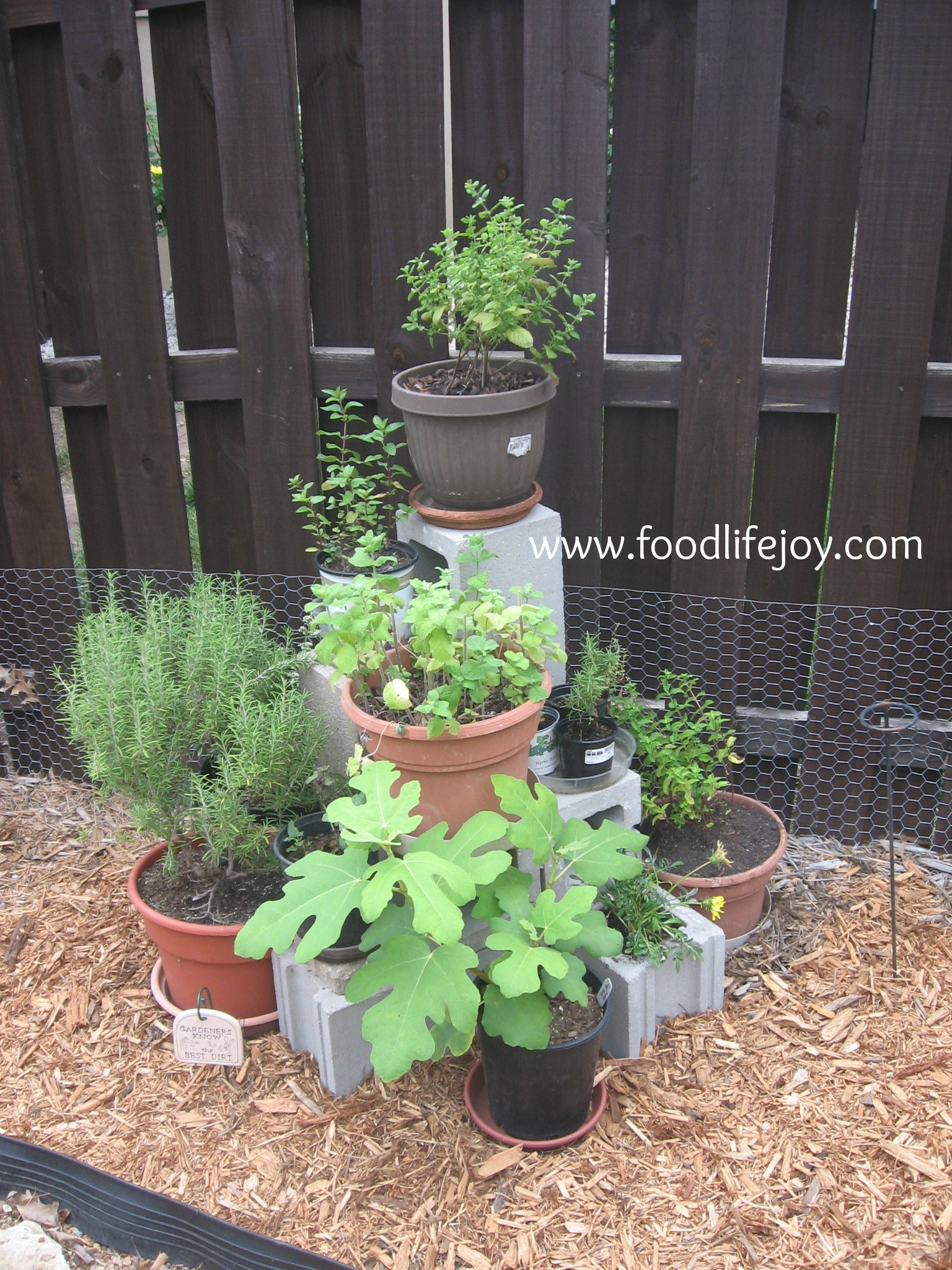 Cinder Block Herb Tower-Six blocks