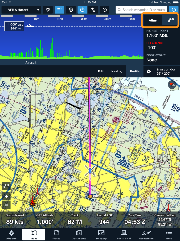 Route and Aircraft mode toggle