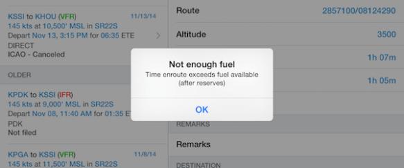 Not enough fuel error