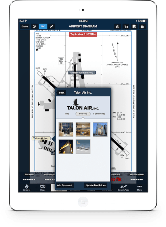 ForeFlight Directory listing shown on taxi chart