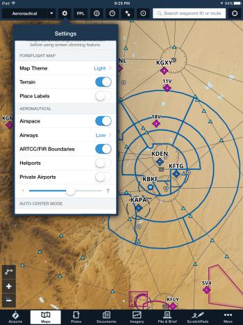 Aeronautical Maps settings