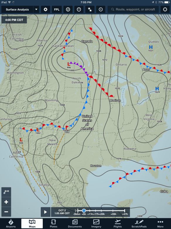 The surface analysis layer has more detailed weather features for the US