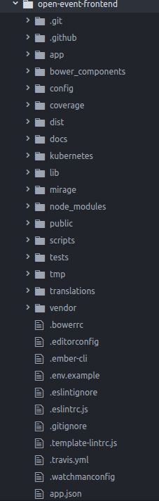 Directory structure of open event frontend project