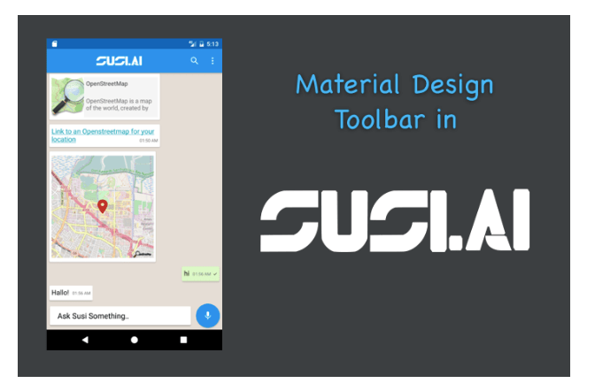 Implementing Toolbar(ActionBar) in SUSI Android