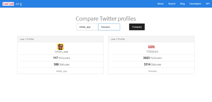 How the Compare Twitter Profiles loklak App works
