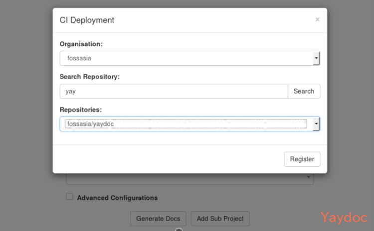 Registering Organizations' Repositories for Continuous Integration with Yaydoc