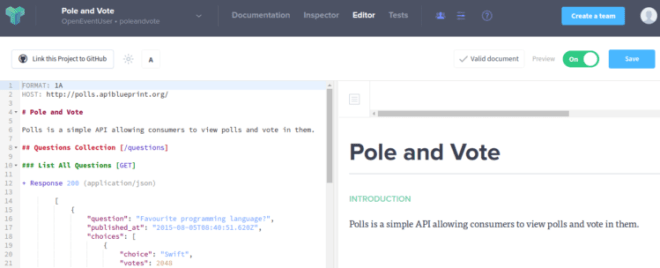 Rendering open event servers api blueprint document a default polls and vote example api project this is a template we can use as guide the polevote api looks something like this in the editor mode malvernweather Images