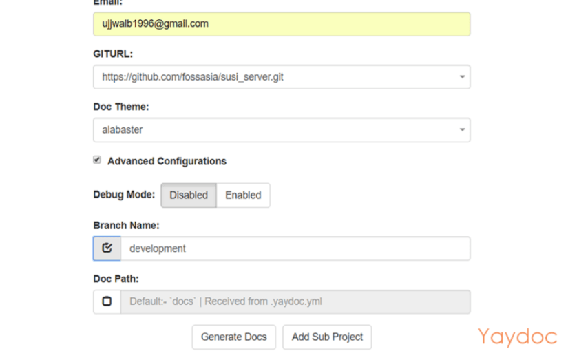 Advanced configurations in Yaydoc's Web UI
