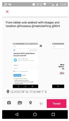 Posting Tweet from Loklak Wok Android