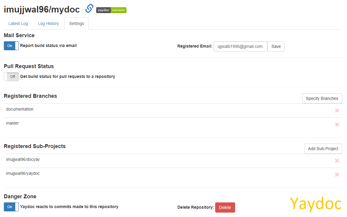 Configurable Settings for Repositories Registered to Yaydoc