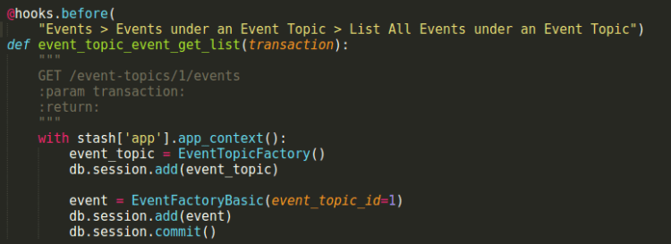 Writing Dredd Test for Event Topic-Event Endpoint in Open Event API Server