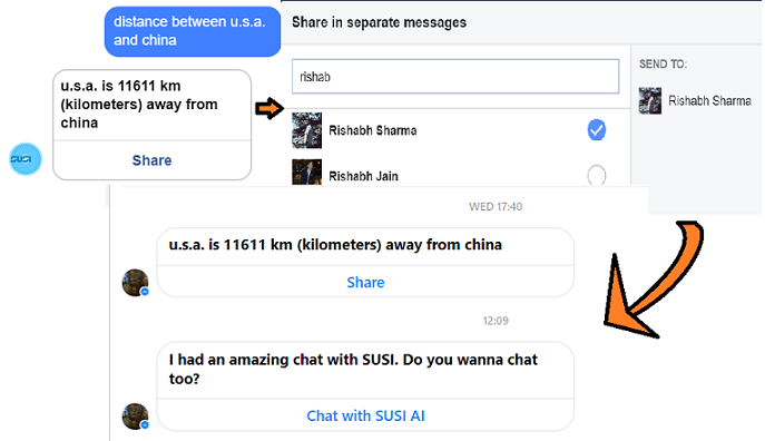 Advanced functionality in SUSI FBbot