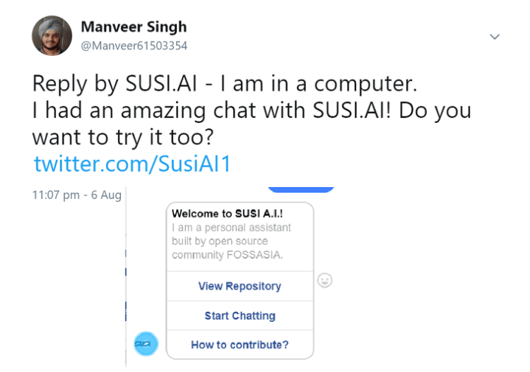 Making SUSI.AI reach more users through messenger bots