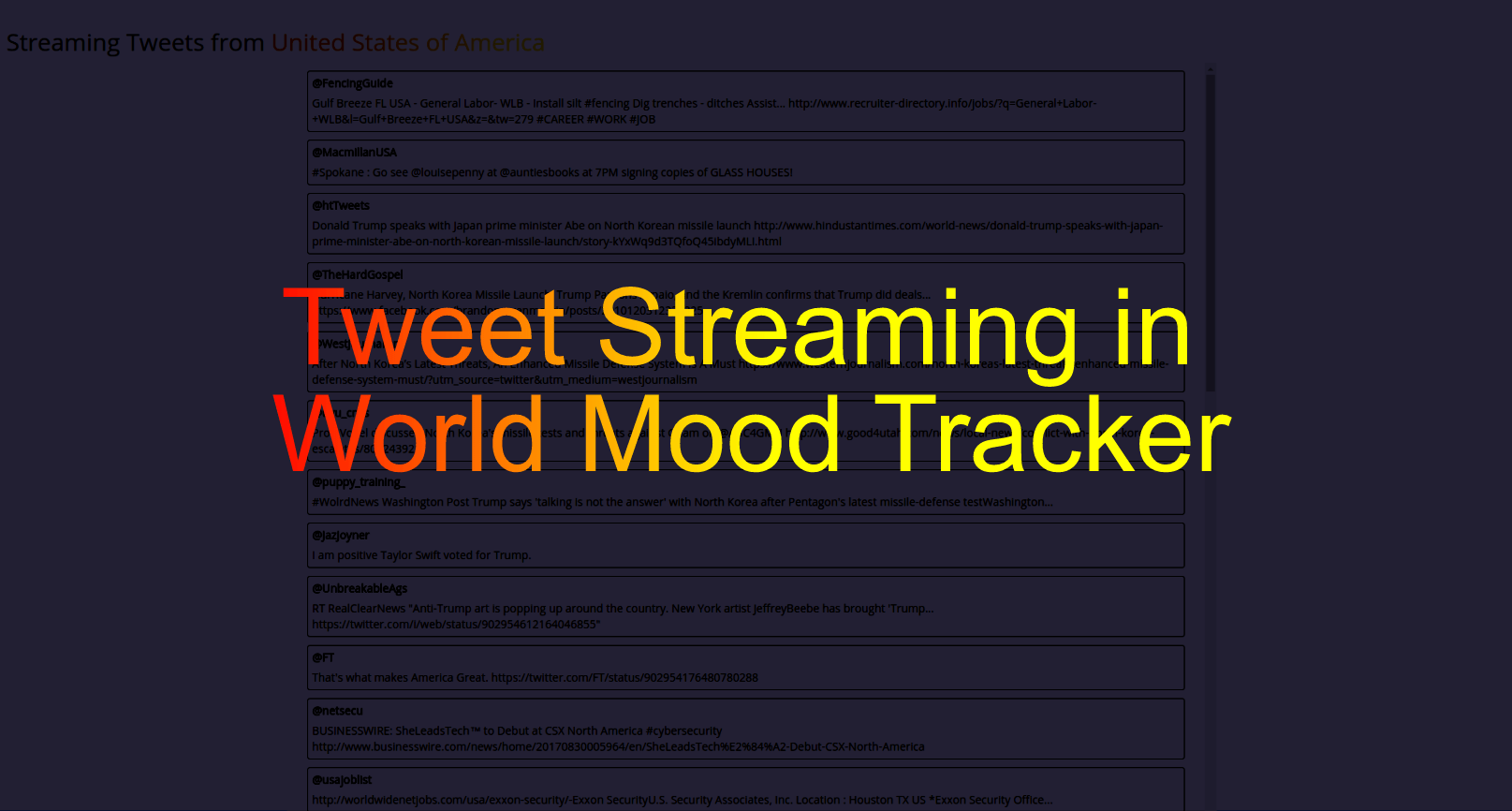 Adding Tweet Streaming Feature in World Mood Tracker loklak App