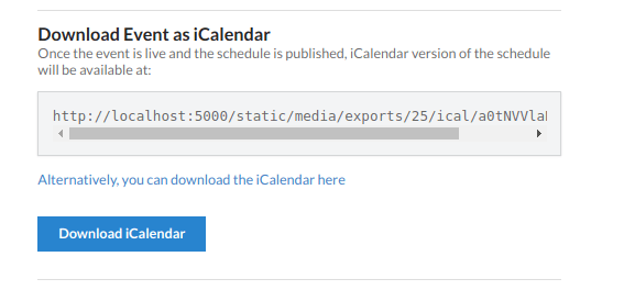 Open Event Server – Export Event as an iCalendar File