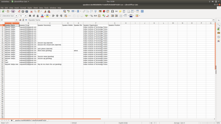 Open Event Server – Export Speakers as CSV File